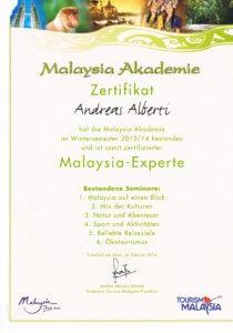 Malaysia Akademie Zertifikat Andreas Albertin- Asia Live Kombireise