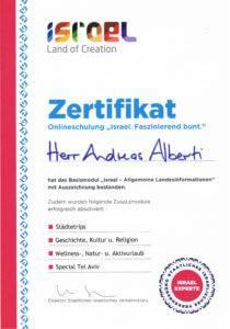 Israel Akademie Zertifikat Andreas Albertin- Asia Live Kombireise
