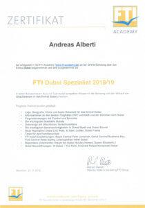 Asia Live Kombireisen Andreas Alberti - Zertifikat Dubai Spezialist