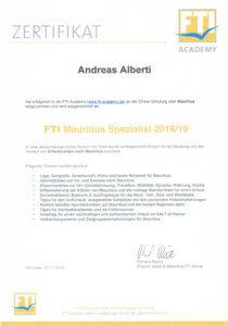 Asia Live Kombireisen Andreas Alberti - Zertifikat Mauritius Spezialist