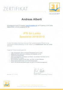 Asia Live Kombireisen Andreas Alberti - Zertifikat Sri Lanka Spezialist
