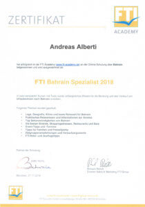 Asia Live Kombireisen Andreas Alberti - Zertifikat Bahrain Spezialist